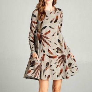 Bellamie Feather Tunic Sweater Dress